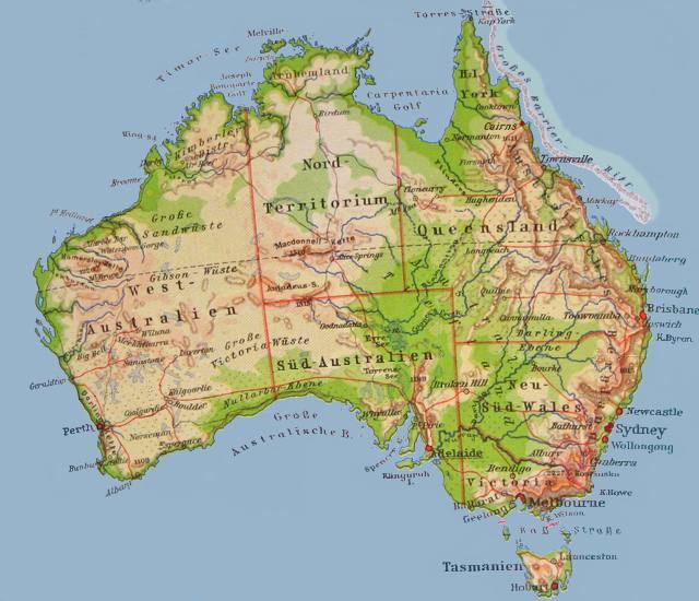Karte Australien Und Umgebung.Rundreise Australien