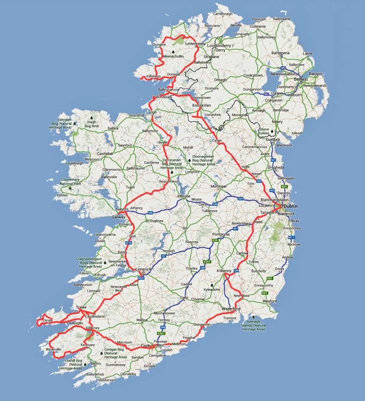 Irland Karte Rundreise.Irland Busrundreise