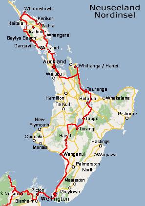 Neuseeland Nordinsel Karte.Reiserouten Neuseeland