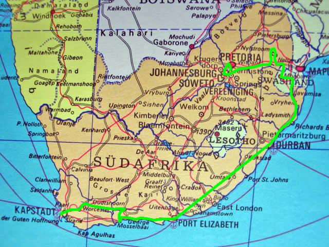 Karte Südafrika.Südafrika Busrundreise